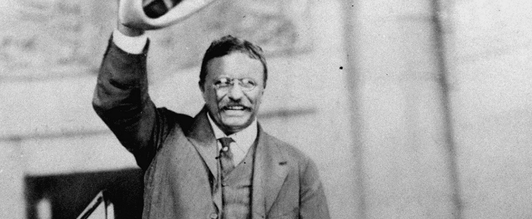 Theodore Roosevelt campaigning to be president in 1904